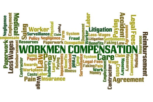 Word cloud with Workers' Compensation in the middle